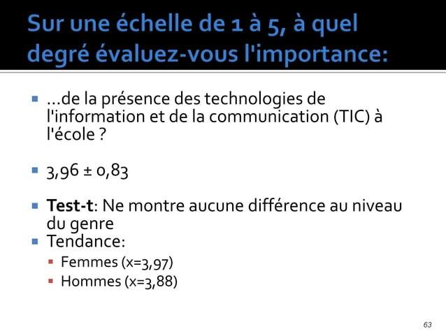  ...de la maitrise des technologies de l'information et de la communication (TIC) en éducation par les ENSEIGNANTS ?  4,...