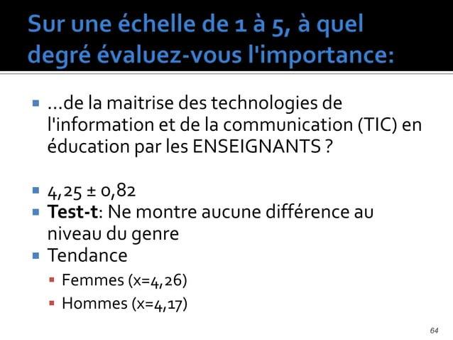  ...de la maitrise des technologies de l'information et de la communication (TIC) en éducation par les ÉLÈVES ?  3,78 ± ...