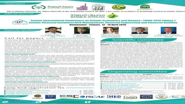 1ST TUNISIA INTERNATIONAL CONFERENCE ON ISLAMIC ECONOMICS AND FINANCE |TICIEF 2019