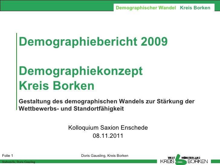 Demographischer Wandel Kreis Borken             Demographiebericht 2009             Demographiekonzept             Kreis B...