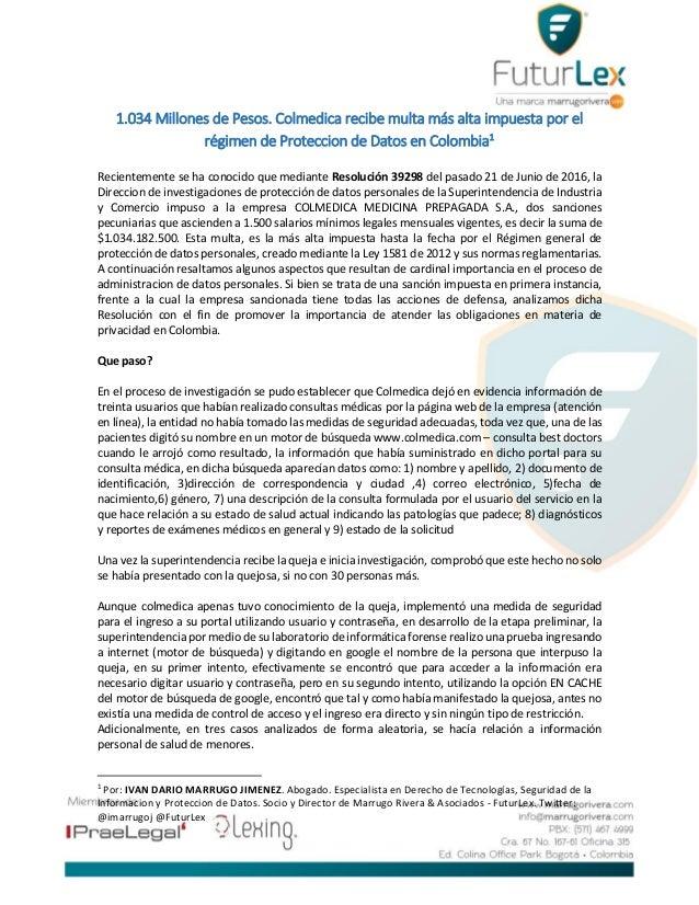 1.034 Millones de Pesos. Colmedica recibe multa más alta impuesta por el régimen de Proteccion de Datos en Colombia1 Recie...