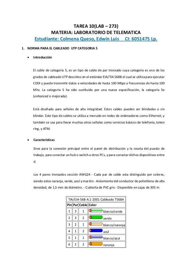 TAREA 10(LAB – 273) MATERIA: LABORATORIO DE TELEMATICA Estudiante: Colmena Queso, Edwin Luis CI: 6051475 Lp. 1. NORMA PARA...