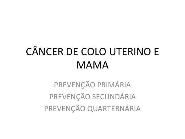 CÂNCER DE COLO UTERINO E MAMA PREVENÇÃO PRIMÁRIA PREVENÇÃO SECUNDÁRIA PREVENÇÃO QUARTERNÁRIA