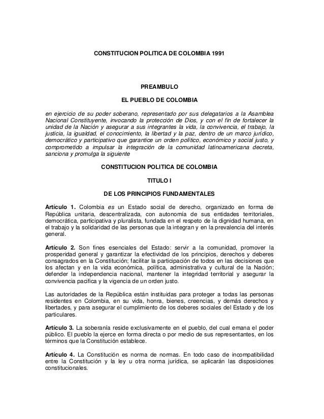 CONSTITUCION POLITICA DE COLOMBIA 1991                                      PREAMBULO                              EL PUEB...