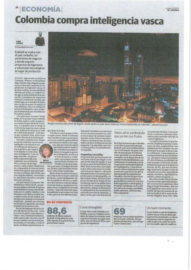 """""""Colombia compra inteligencia vasca"""" El Correo"""