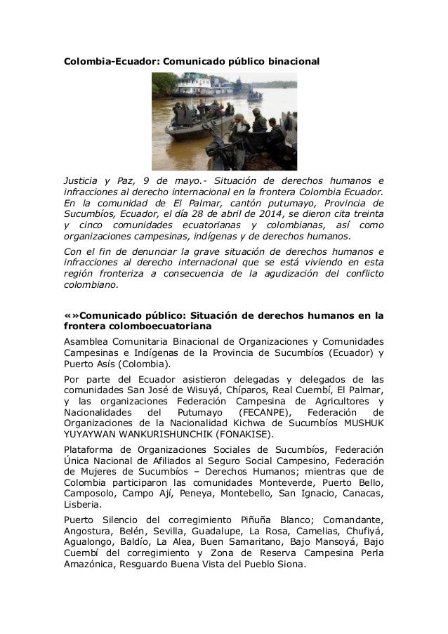 Colombia-Ecuador: Comunicado público binacional Justicia y Paz, 9 de mayo.- Situación de derechos humanos e infracciones a...