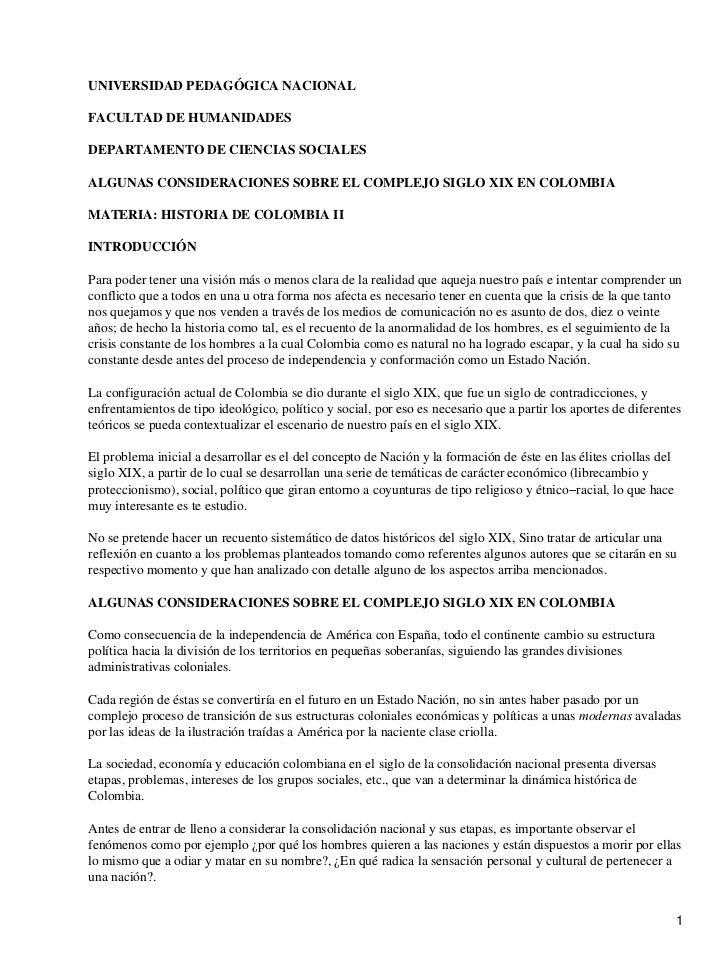UNIVERSIDAD PEDAGÓGICA NACIONALFACULTAD DE HUMANIDADESDEPARTAMENTO DE CIENCIAS SOCIALESALGUNAS CONSIDERACIONES SOBRE EL CO...