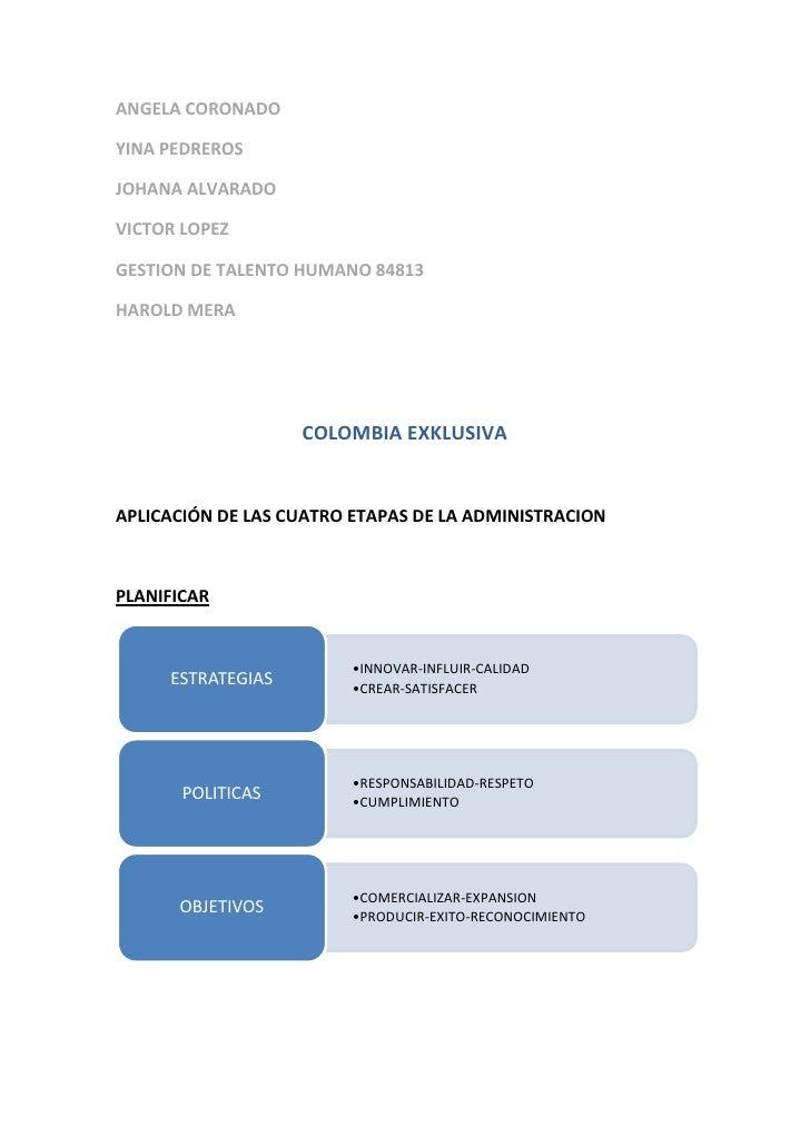 ANGELA CORONADO<br />YINA PEDREROS<br />JOHANA ALVARADO<br />VICTOR LOPEZ<br />GESTION DE TALENTO HUMANO 84813<br />HAROLD...