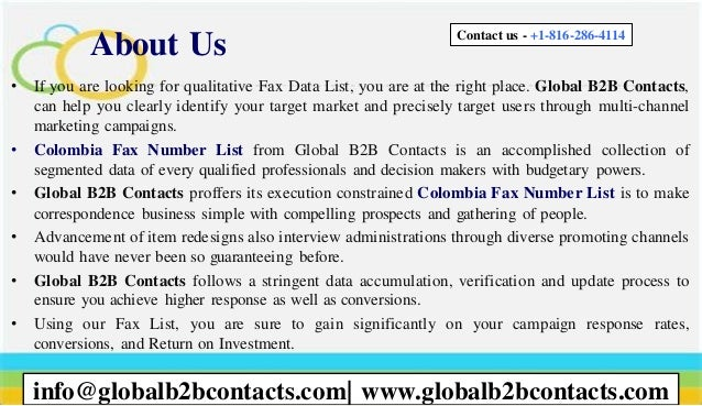 About Us • If you are looking for qualitative Fax Data List, you are at the right place. Global B2B Contacts, can help you...