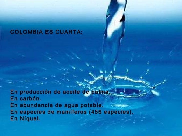 COLOMBIA ES CUARTA: En producción de aceite de palma. En carbón. En abundancia de agua potable. En especies de mamíferos (...