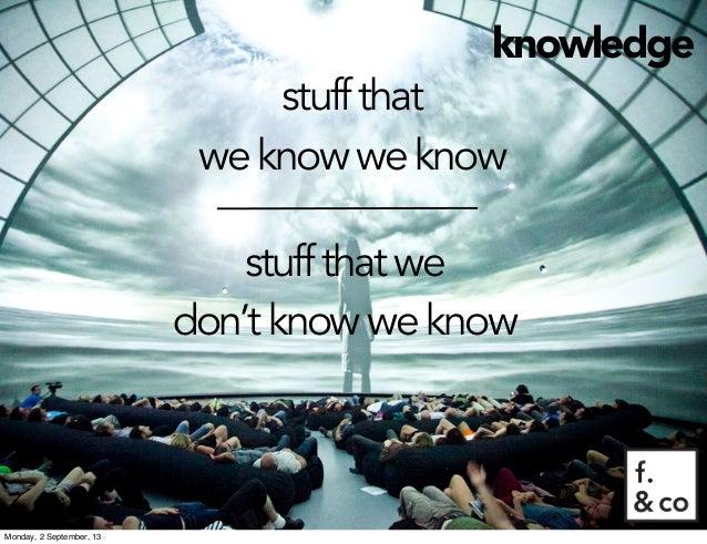 knowledge stuffthat weknowweknow stuffthatwe don'tknowweknow Monday, 2 September, 13