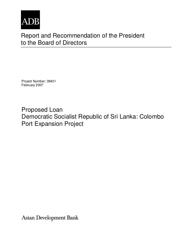Report and Recommendation of the Presidentto the Board of DirectorsProject Number: 39431February 2007Proposed LoanDemocrat...