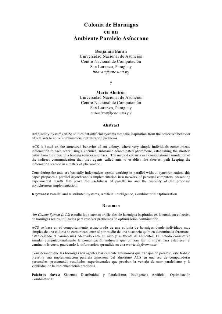 Colonia de Hormigas                                     en un                           Ambiente Paralelo Asíncrono       ...