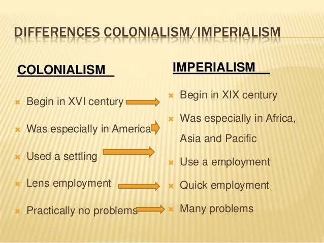 notes on colonialism and imperialism Colonialism and imperialism a colony is part of an empire and so colonialism is closely related to imperialism  the initial assumption is that colonialism and imperialism are interchangeable however, robert young, suggests that imperialism is the concept while colonialism is the practice.