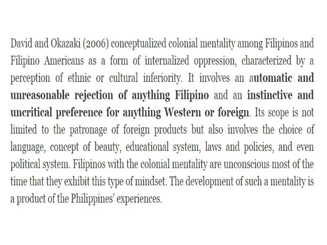 Our Colonial Mentality,Damaged Culture and Their Roots Essay