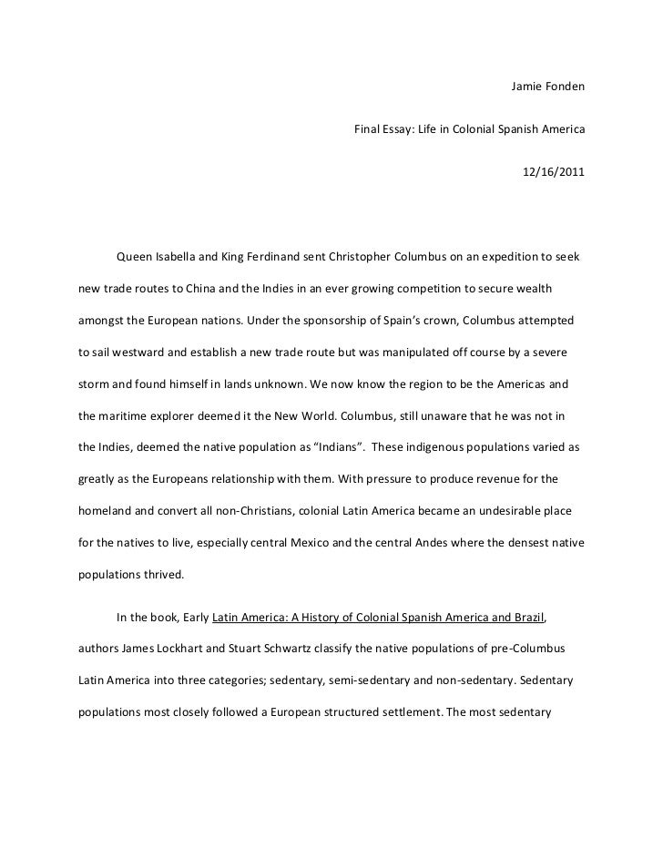 colonial spain final essay jamie fonden