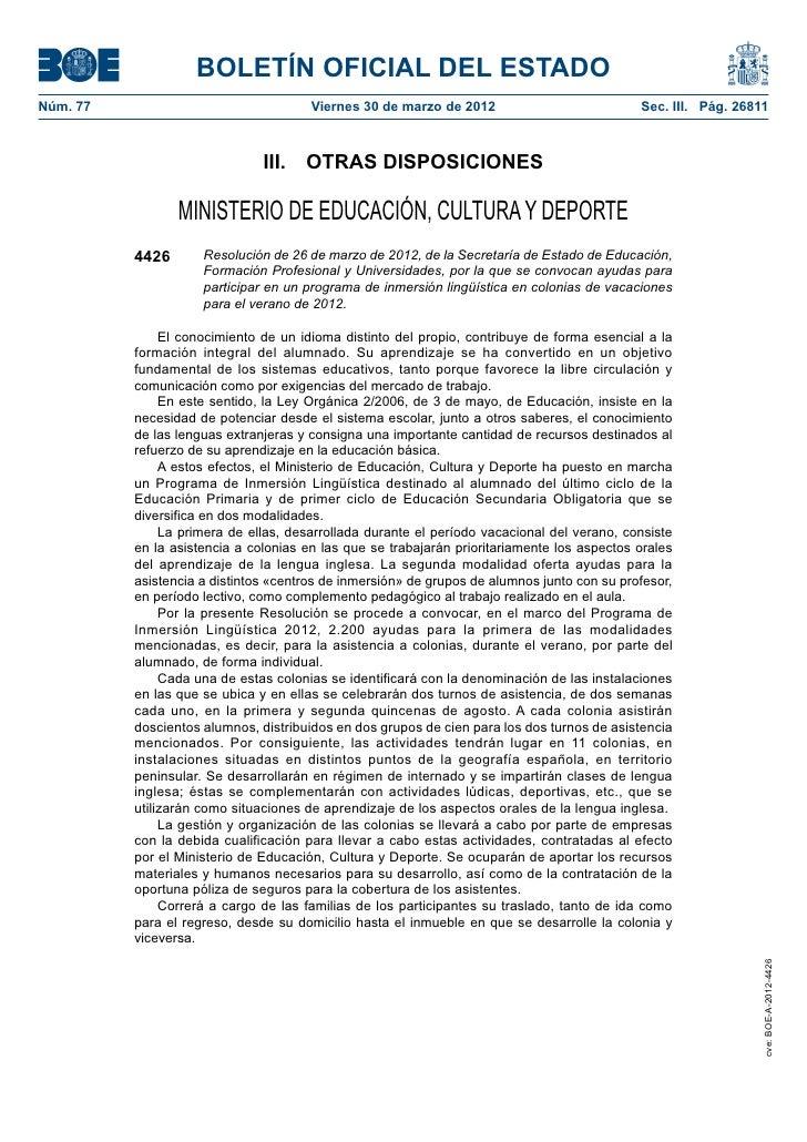 BOLETÍN OFICIAL DEL ESTADONúm. 77                                Viernes 30 de marzo de 2012                          Se...