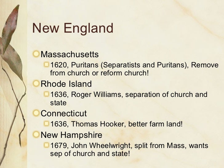 chesapeake vs new england essay In the 17th century, the english established colonies in the new world and created two distinct regions new england included colonies such as connecticut.