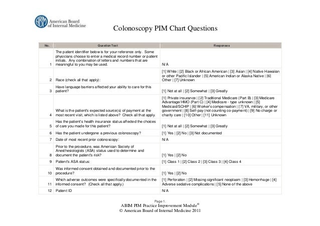Colonoscopy PIM Chart QuestionsNo.                                 Question Text                                          ...