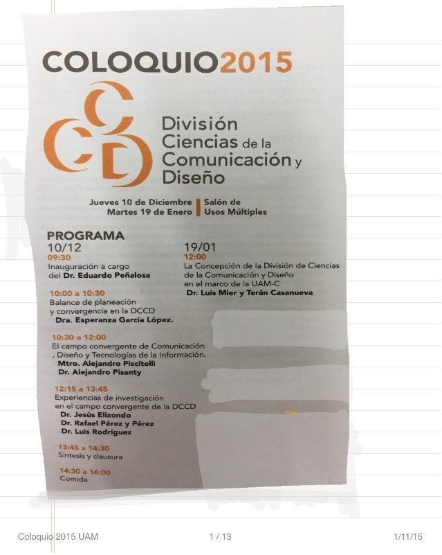 Coloquio Divisional 2015 UAM