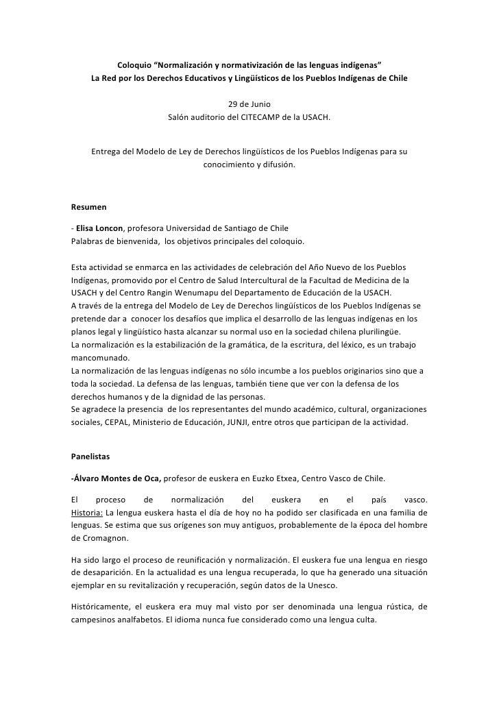 """Coloquio """"Normalización y normativización de las lenguas indígenas""""         La Red por los Derecho..."""