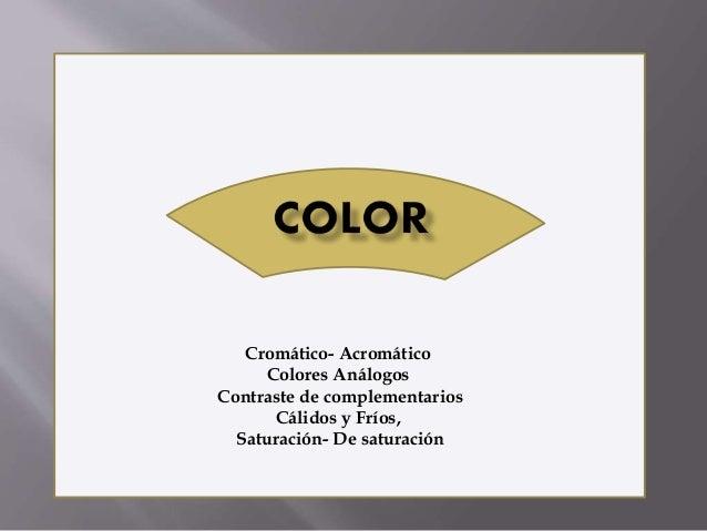 Cromático- Acromático  Colores Análogos  Contraste de complementarios  Cálidos y Fríos,  Saturación- De saturación