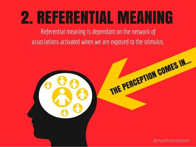 1. Referential Meaning: Referential meaning is dependant on the network of associations activated when we are exposed to t...