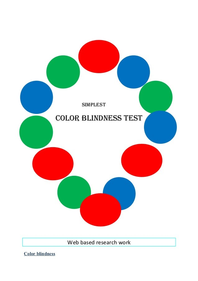 SimpleStCOlOR BliNDNeSS teStWeb based research workColor blindness