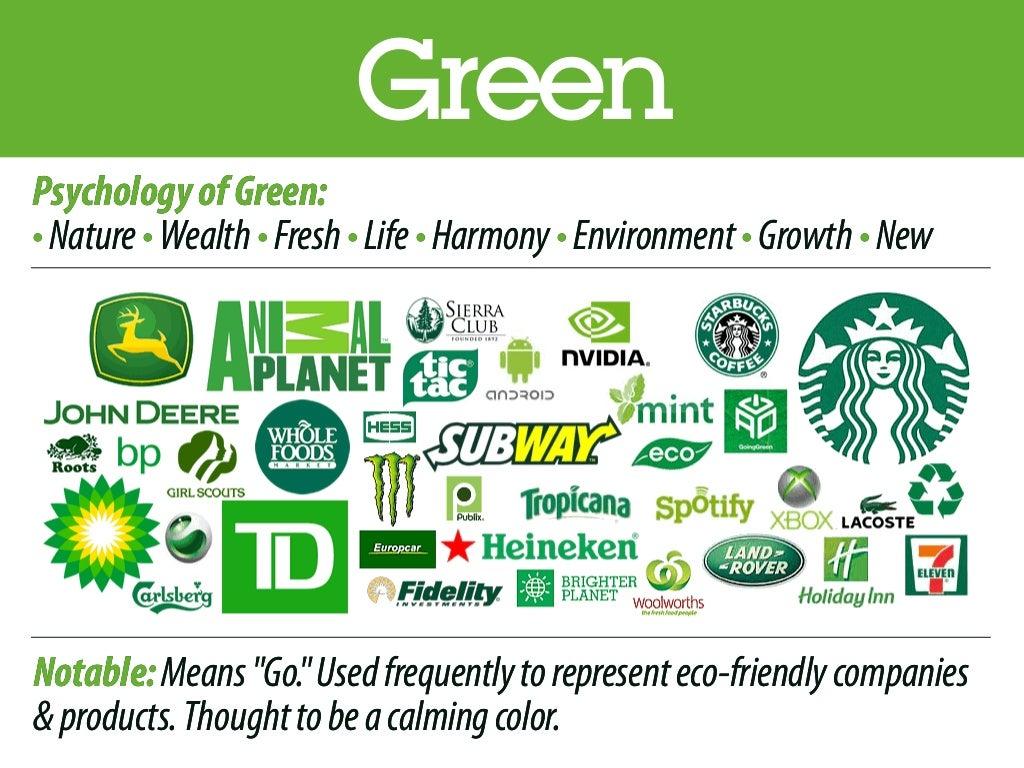 Logos Brands And Logotypes: Green PsychologyofGreen: •Nature•Wealth•Fresh•Life•Harmony