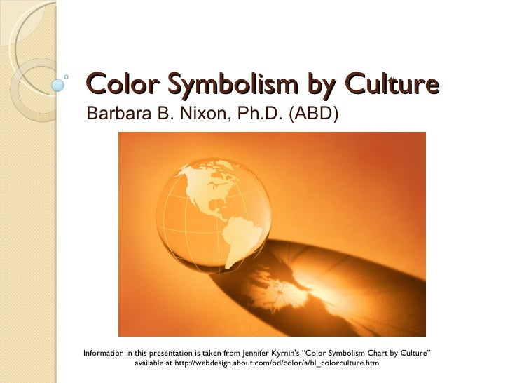 Color Symbolism by Culture Barbara B. Nixon, Ph.D. (ABD)     Information in this presentation is taken from Jennifer Kyrni...