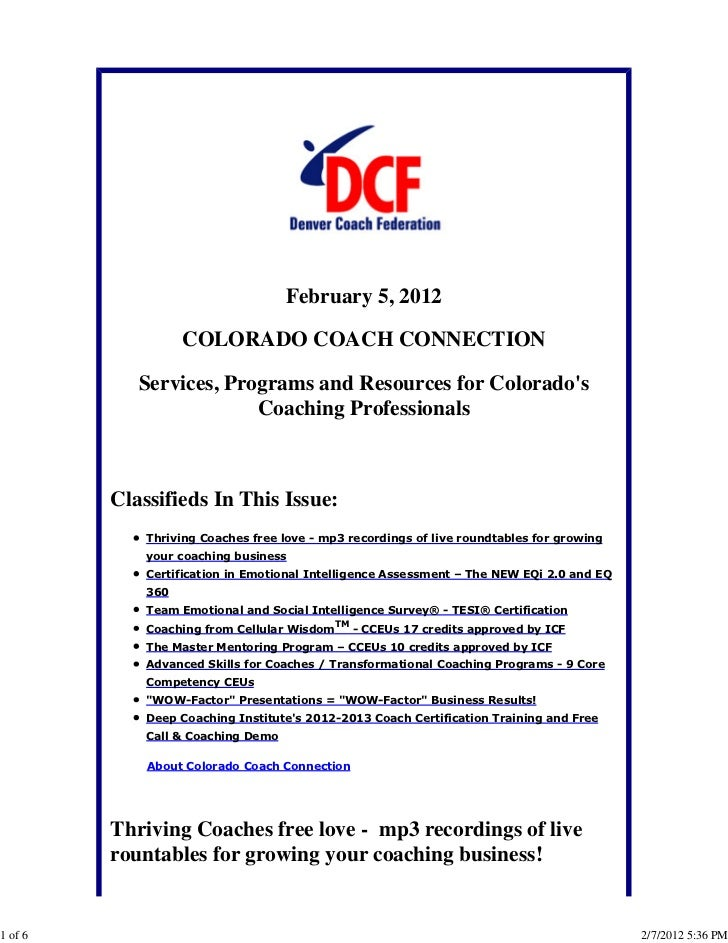 February 5, 2012                   COLORADO COACH CONNECTION            Services, Programs and Resources for Colorados    ...