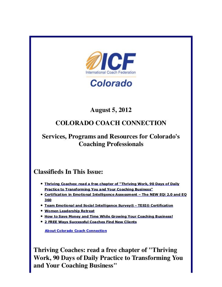 August 5, 2012          COLORADO COACH CONNECTION   Services, Programs and Resources for Colorados                Coaching...