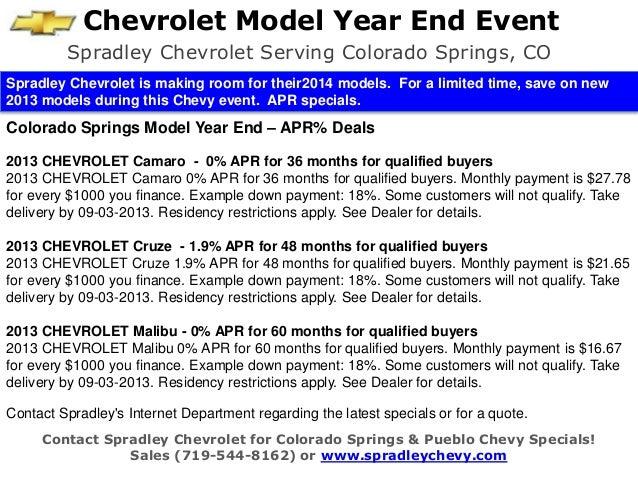 Colorado Springs Chevrolet Model Year End Event Chevy 2013 Specials