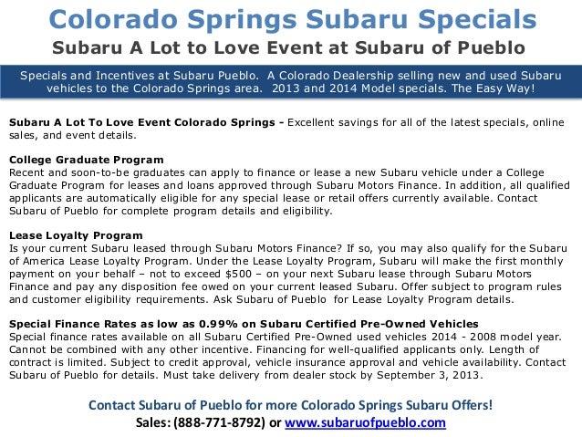 Colorado Springs Subaru A Lot To Love Event Colorado - Subaru graduate program
