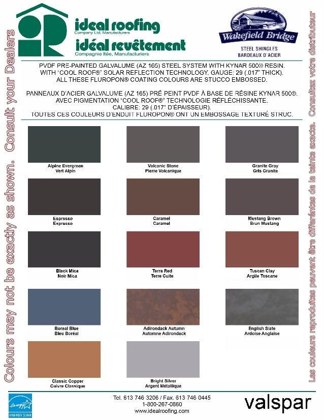 Wakefield Bride Steel Shingles Color Chart