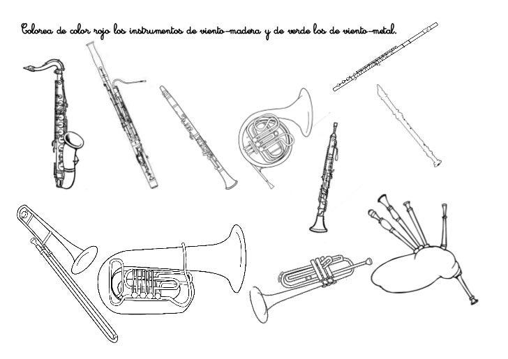 Colorea de color rojo los instrumentos de viento