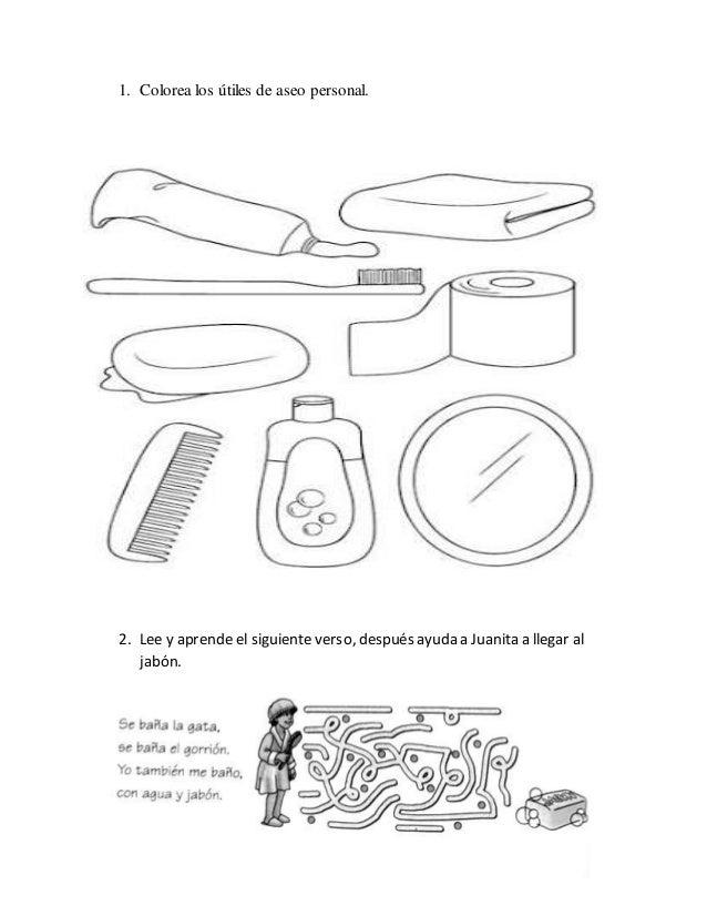 Colorea los útiles de aseo personal