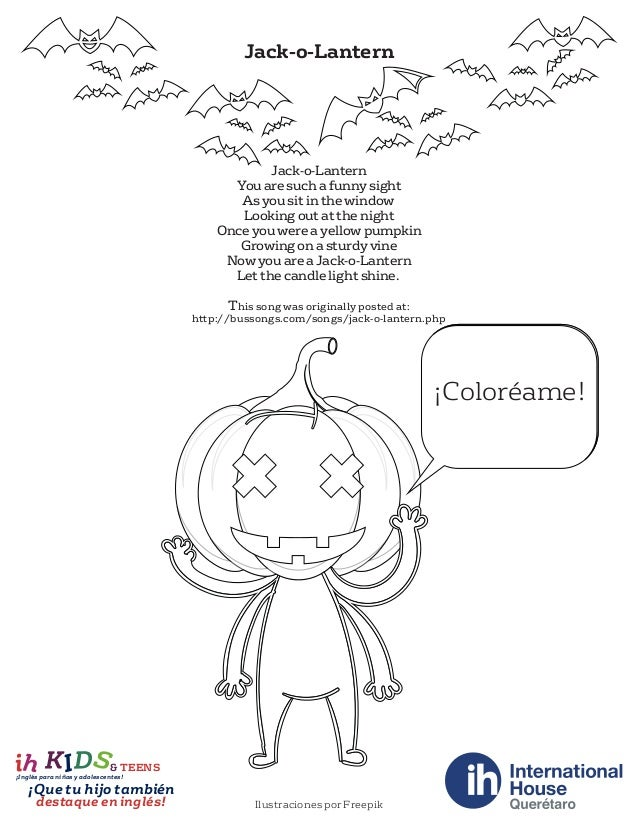 Halloween Rhymes And Coloring Pages Poemas Y Dibujos Para