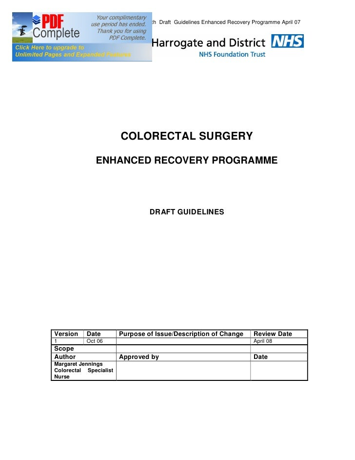 5th Draft Guidelines Enhanced Recovery Programme April 07                             COLORECTAL SURGERY                EN...