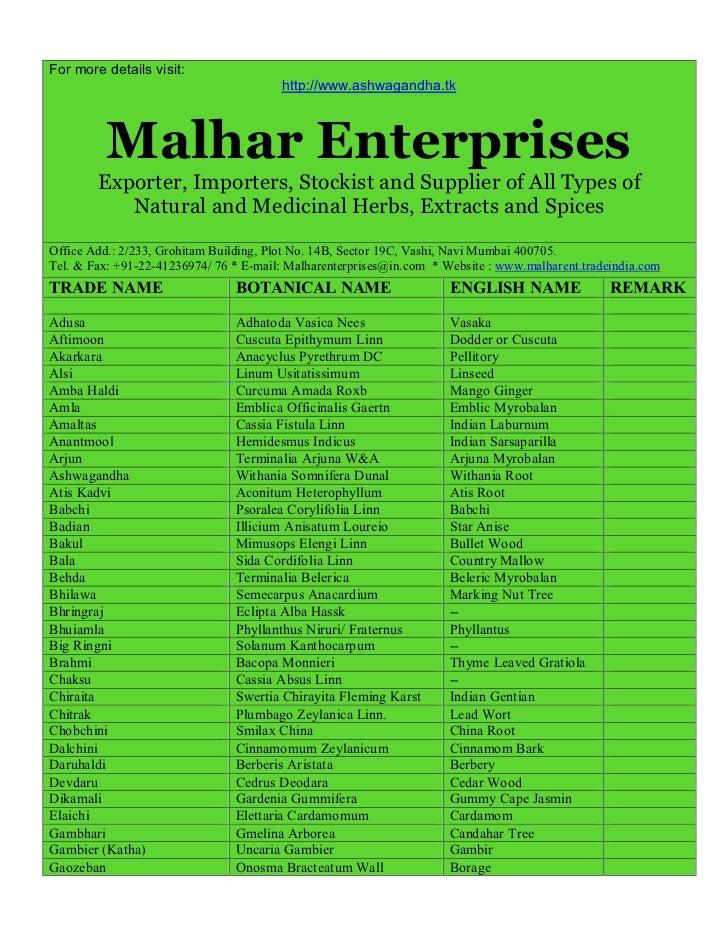 For more details visit:                                        http://www.ashwagandha.tk          Malhar Enterprises      ...