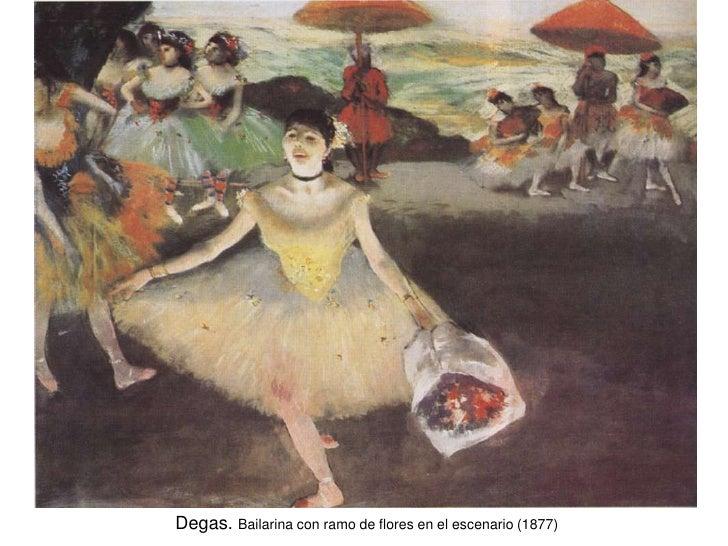 Degas. Bailarina con ramo de flores en el escenario (1877)