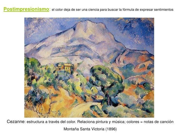 Postimpresionismo: el color deja de ser una ciencia para buscar la fórmula de expresar sentimientos      Cezanne: estructu...