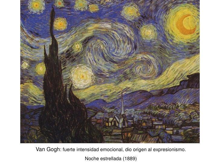 Van Gogh: fuerte intensidad emocional, dio origen al expresionismo.                      Noche estrellada (1889)