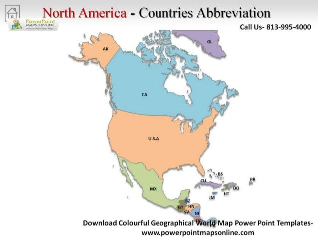 Online Colorful Geographical World Map Powerpoint - Usa country abbreviation