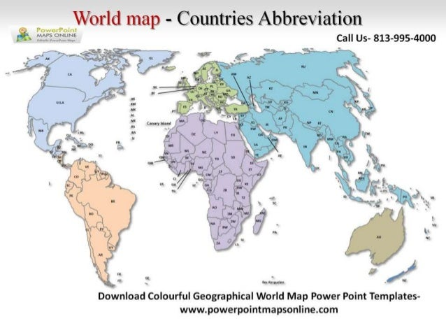 Online Colorful Geographical World Map Powerpoint - World map p