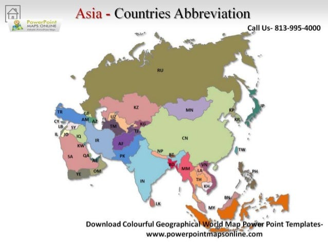 Online colorful geographical world map powerpoint asia countries abbreviation gumiabroncs Choice Image