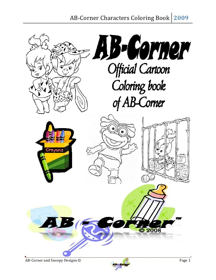 AB-Corner Characters Coloring Book 2009                           Corner     AB-Corner and Snoopy Designs ©    Corner     ...