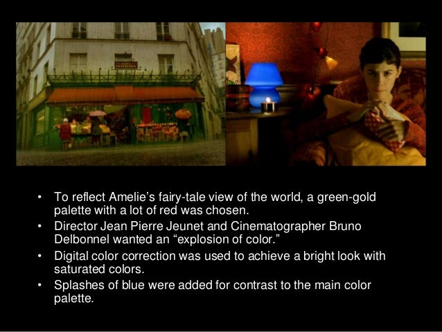 an analysis of the symbol of color blue in amelie by jean pierre jeunet Amélie color analysis the film amélie , directed by jean-pierre jeunet is the story of a french girl being raised by a cold father and a mother who is at constant stress, she has been suppressed by her parents all her life.