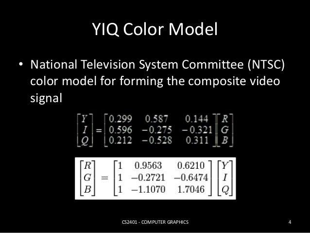 YIQ Color Model    R        R  G  0.299 0.587 0.144        0.299 0.587 0.144  0.596 0.275 0.321        Y     ...