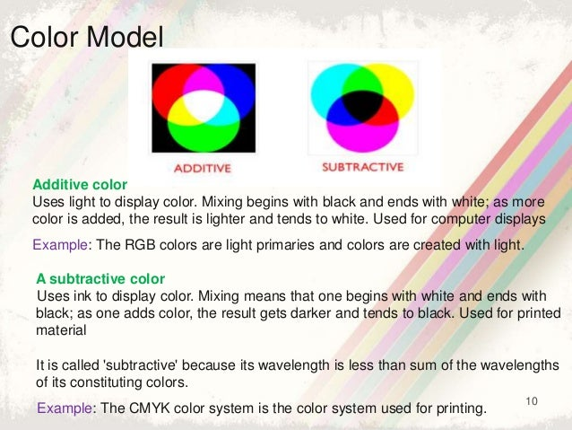 10 Color Model Additive color Uses light to display color. Mixing begins with black and ends with white; as more color is ...